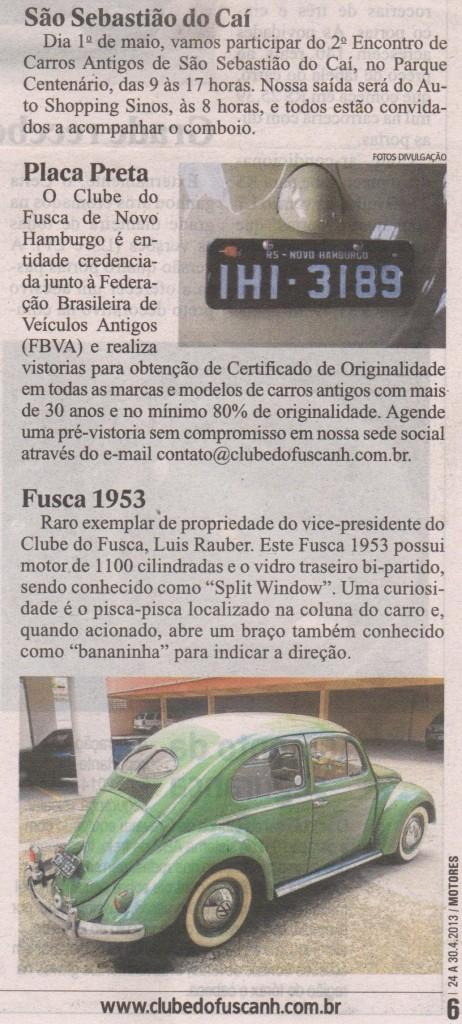 Coluna do Clube do Fusca Novo Hamburgo no Jornal NH (segunda parte)